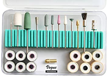 Vogue Professional Deluxe Nail Tech Accessories Tool Kit, 25 Pieces Nail  Care for Nail Drill