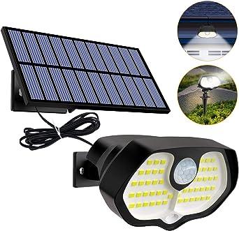 Btfarm Luz Solar Exterior, Solar Lámpara Separada, 60 LED 2 Luces Rojas Luces LED Solares para Exteriores, Humano/Sensor de Luz Luces Impermeables Brillantes Uso en Jardines, Cercas, Escaleras, Patios: Amazon.es: Iluminación