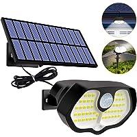 Btfarm Luz Solar Exterior, Solar Lámpara Separada, 60 LED 2 Luces Rojas Luces LED Solares para Exteriores, Humano/Sensor…