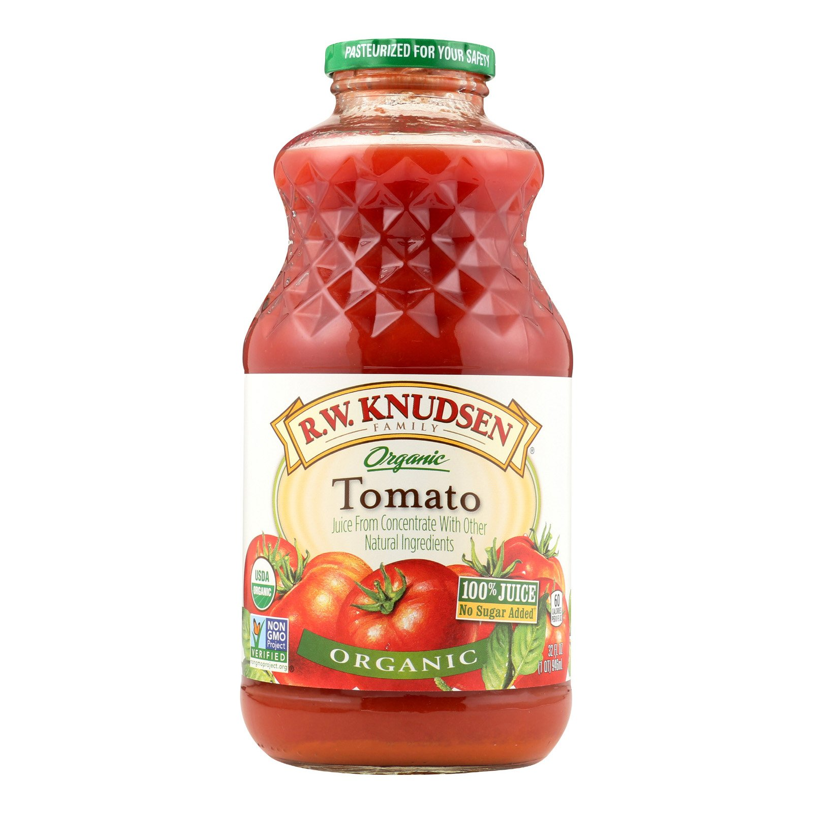 R.W. Knudsen Organic Juice - Tomato - Case of 12 - 32 Fl oz.