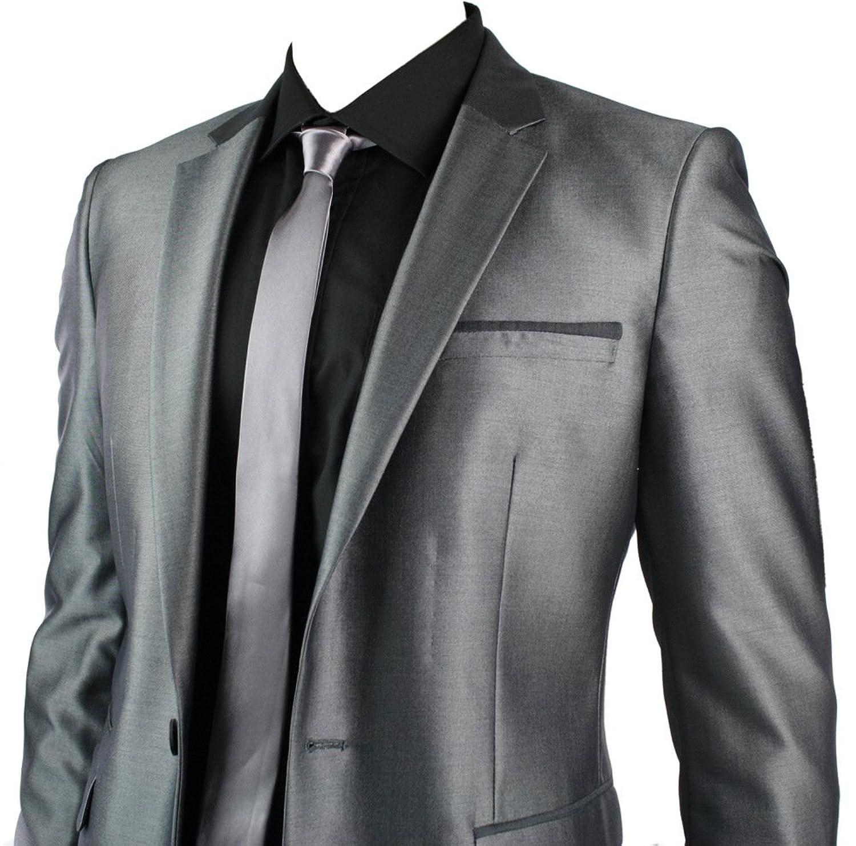 Mens Slim Fit Shiny Silver Grey Suit Blazer & Trouser Smart Office ...