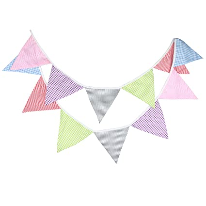 INFEI 3M//9.8Ft Mixed White Lace Fabric Flags Bunting Banner Garlands for Wedding White Outdoor /& Home Decoration Birthday Party