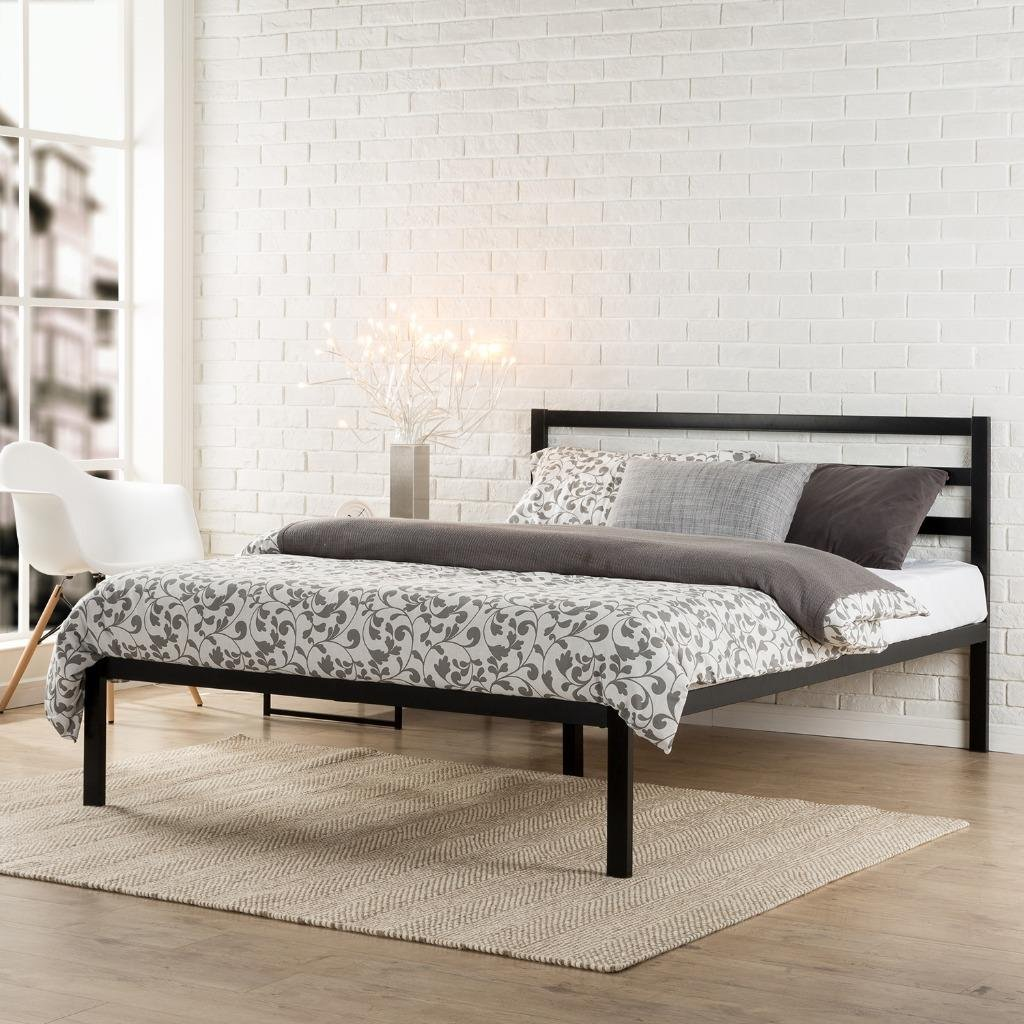 amazoncom zinus modern studio  inch platform h metal bed  - amazoncom zinus modern studio  inch platform h metal bed frame mattress foundation  wooden slat support  with headboard queen kitchen dining