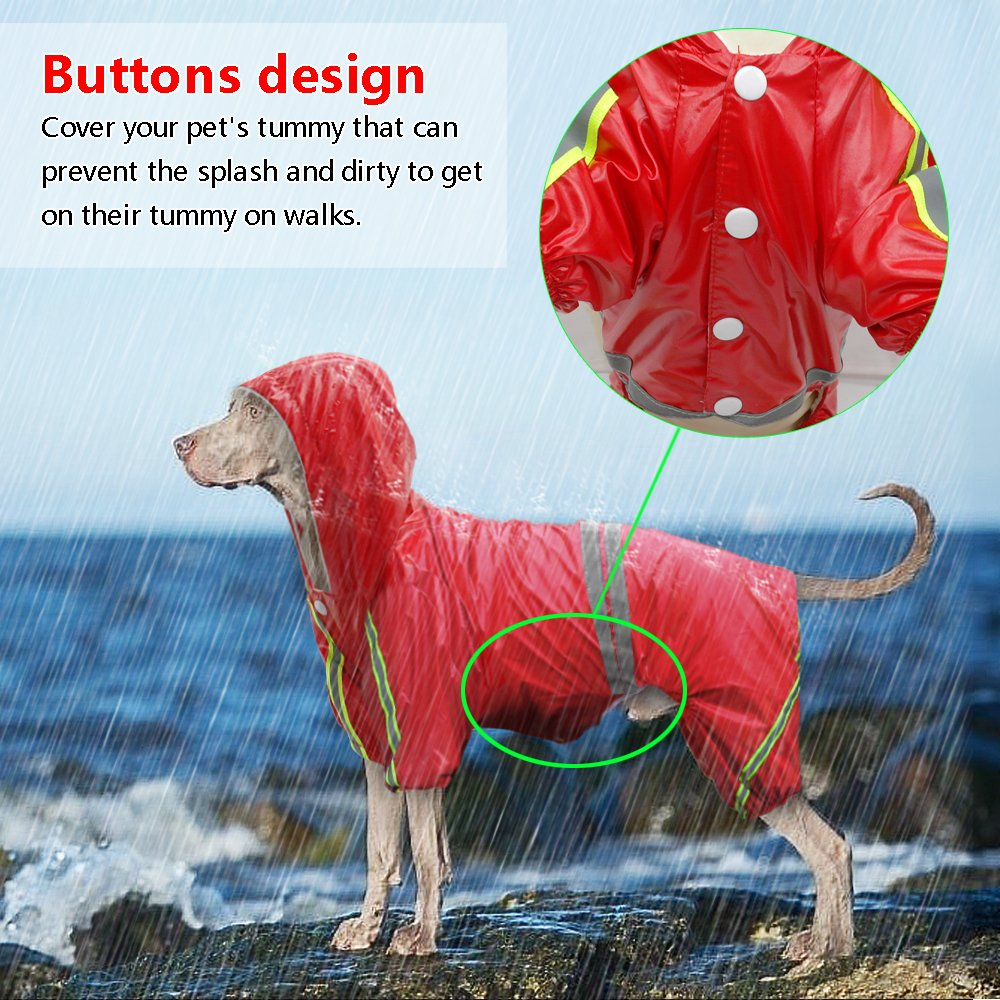 Didog 4 Legs Reflective Dog Raincoat Jacket,Lightweight Waterproof Dog Rainwear Clothes for Small Medium Large Dogs,Red,5XL Size by Didog (Image #2)