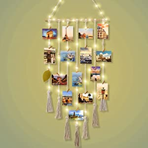 Hanging Photo Display Macrame Wall Hanging Photo Holder with 8 Modes USB Plug String Light with 20 Wood Clips, Pictures Organizer for Boho Home Decor