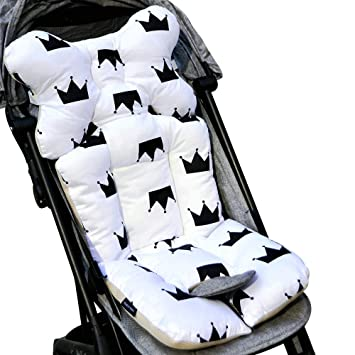 Msliy Universal Baby Stroller Cushion Infant Car Seat Liner Pure Cotton Thick Pad 13.7x30.7 Inches (Black Crown)