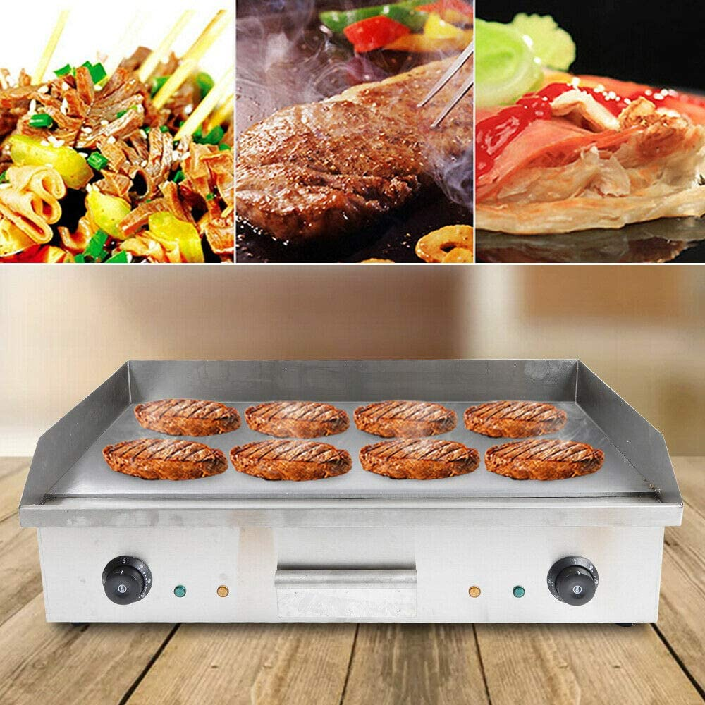 """ZHFEISY Electric Countertop Griddle - 4400W Commercial One-Piece Tabletop Flat Top Electric Grill w/Drip Tray&Temperature Control for Indoor/Outdoor BBQ Teppanyaki Cooking 28.5""""X15.7""""X9""""【CB/CE/GS Certification】"""