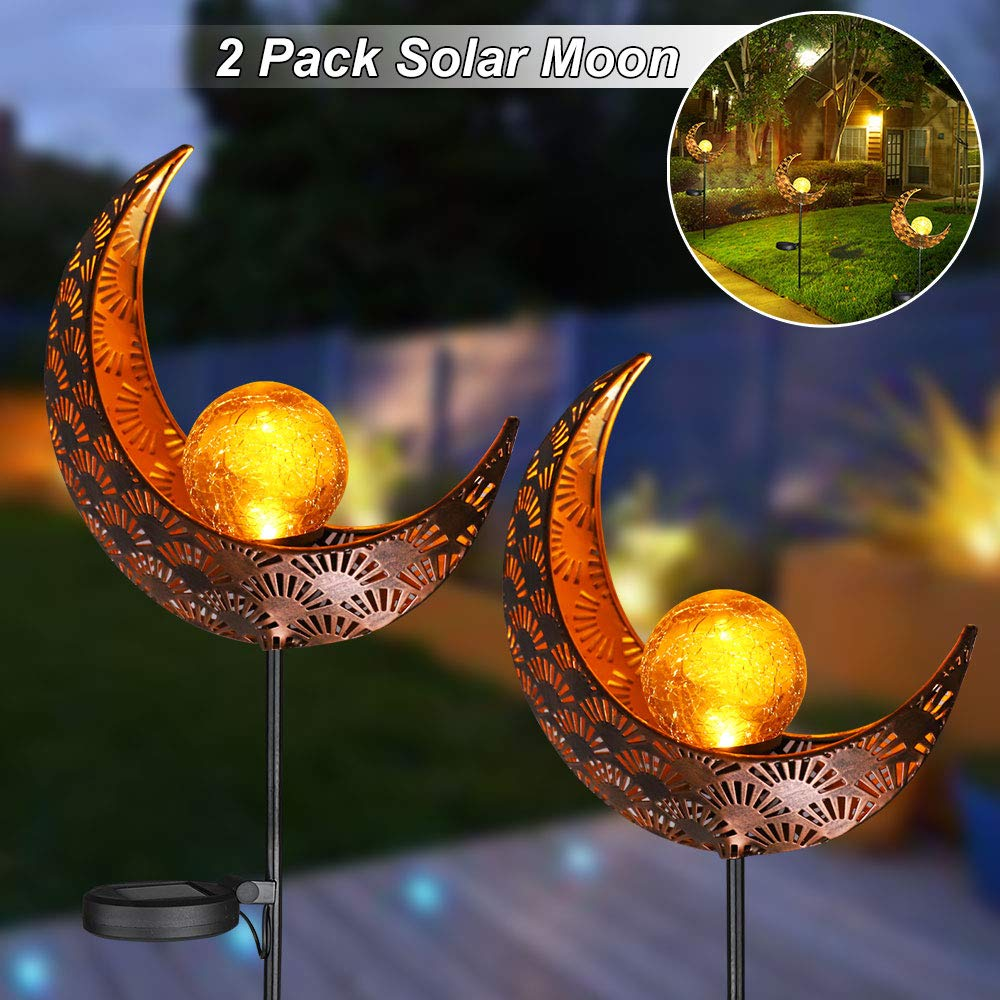 LVJING Solar Garden Decor Lights, Outdoor Solar Moon Yard Decorative Light, Solar Landscape Lights with Crackle Glass Globe, Waterproof Solar Light with Auto On/Off for Garden Art Patio Lawn (2 Pack)