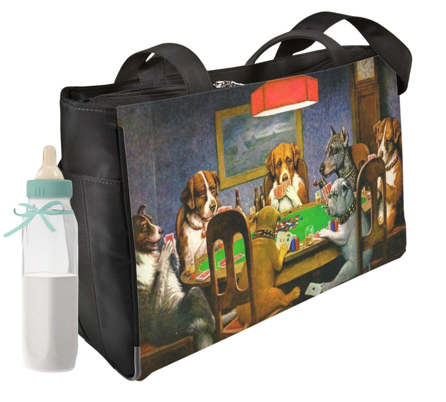 Dogs Playing Poker by C.M.Coolidge Diaper Bag - Front & Back