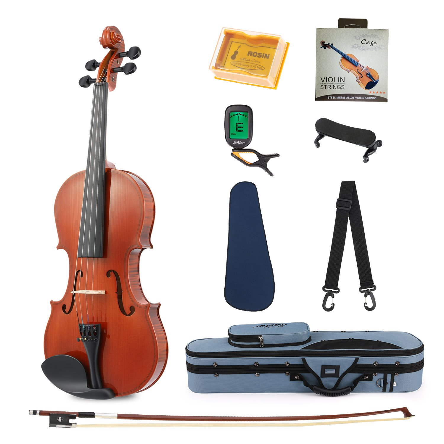 Eastar EVA-1 Full-Size 4/4 Violin Set For Beginner Student with Hard Case, Rosin, Shoulder Rest, Bow, Clip-on Tuner and Extra Strings EB004+EB005