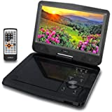 "SYNAGY 10.1"" Portable DVD Player with Swivel Screen, 4 Hours Rechargeable Battery, USB/SD Card Reader, AC/DC Adapter (Black)"