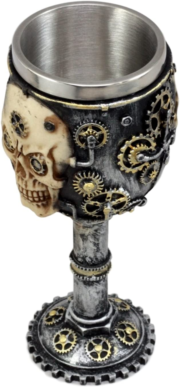 Ebros Gift Silver Steampunk Mechanical Gearwork Skull Face Wine Goblet Drink Chalice Cup Figurine 6oz