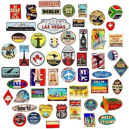 54x Pegatinas de equipaje parches de maleta Etiquetas de viaje vintage vinilos de estilo vintage retro: Amazon.es: Hogar