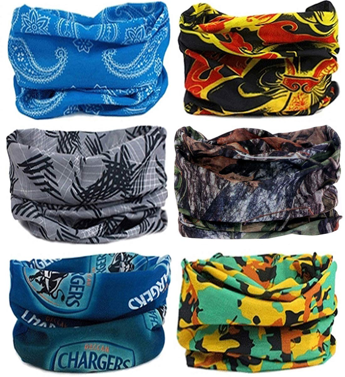 SmilerSmile 6pcs Assorted Seamless Outdoor Sport Bandanna Headwrap Scarf Wrap, 12 in 2 High Elastic Magic Headband & Collars Muffler Scarf Face Mask UV Resistance(32 Print2)