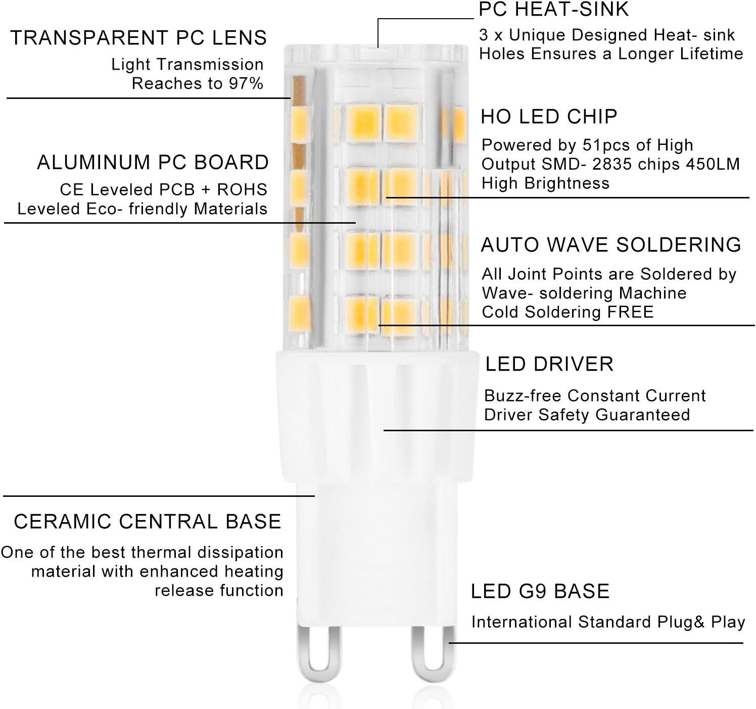 ARVIDSSON de 6 Pack G9 LED Bombillas de 6 W (45 W halógena spot bombillas Ligh similar) las de 3000 K, luz, G9 LED Lámparas, AC 220 – 240 V, intensidad no