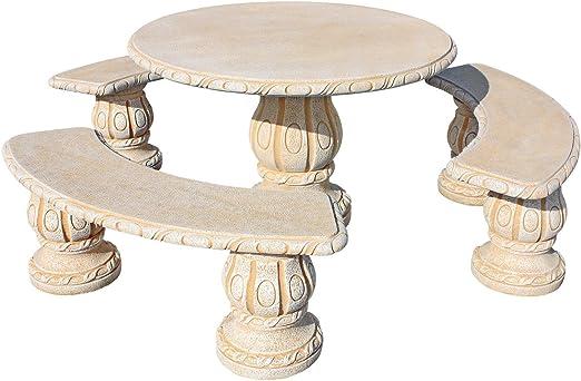 Conjunto Mesa Comedor Jardin DE Piedra Artificial con Fibra.Mesa ...