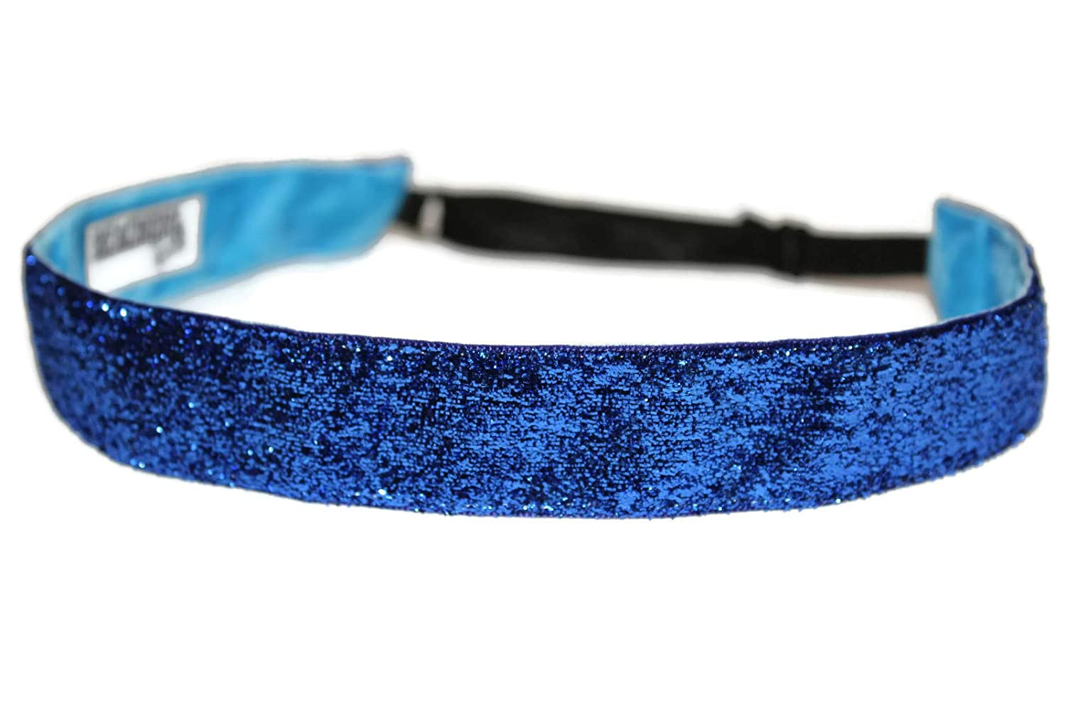 BEACHGIRL Bands Royal Blue Glitter Non Slip Adjustable Sports Headband For Women And Girls