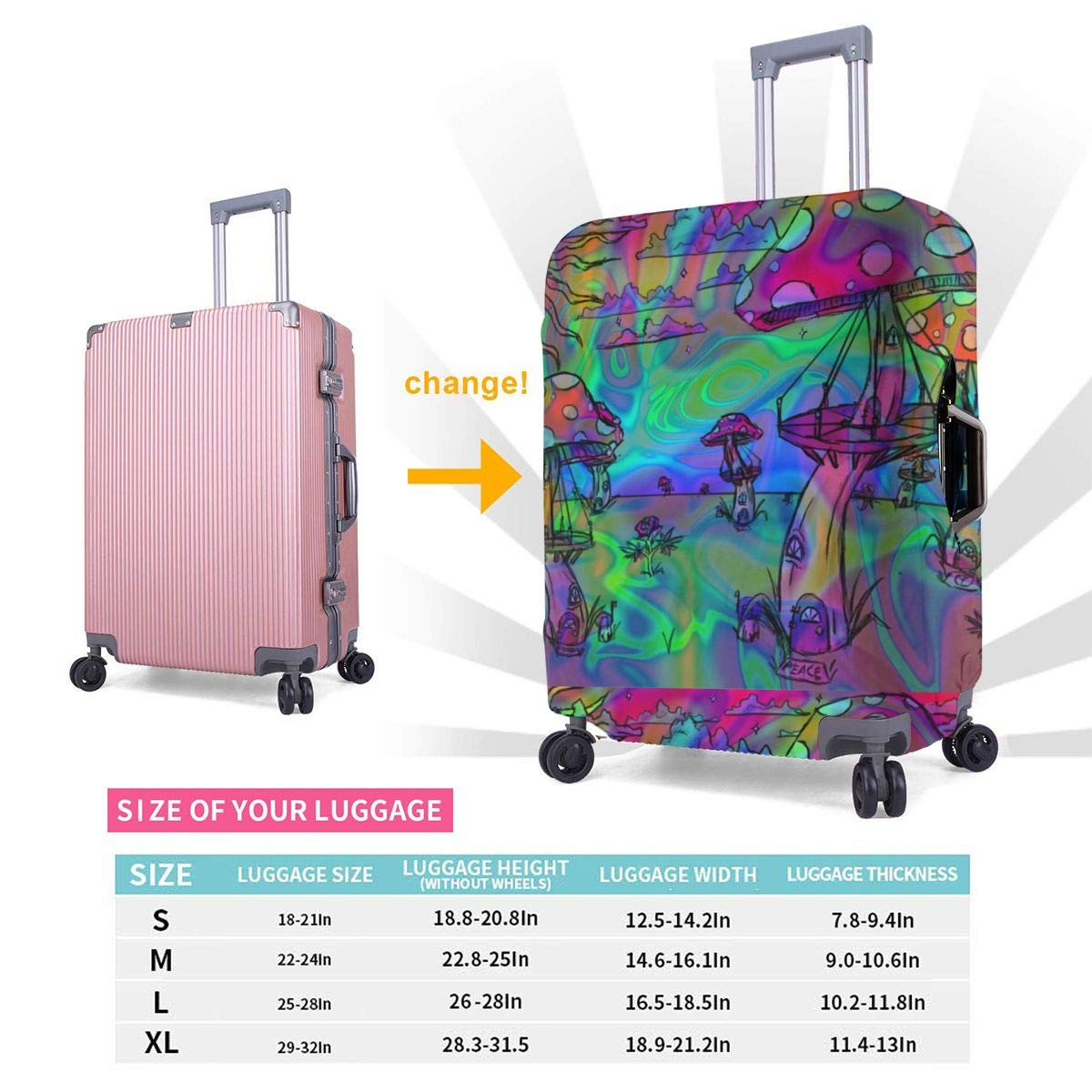 Psychedelic Trippy Mushroom Cargo Printed Business Luggage Protector Travel Baggage Suitcase Cover 4 Size