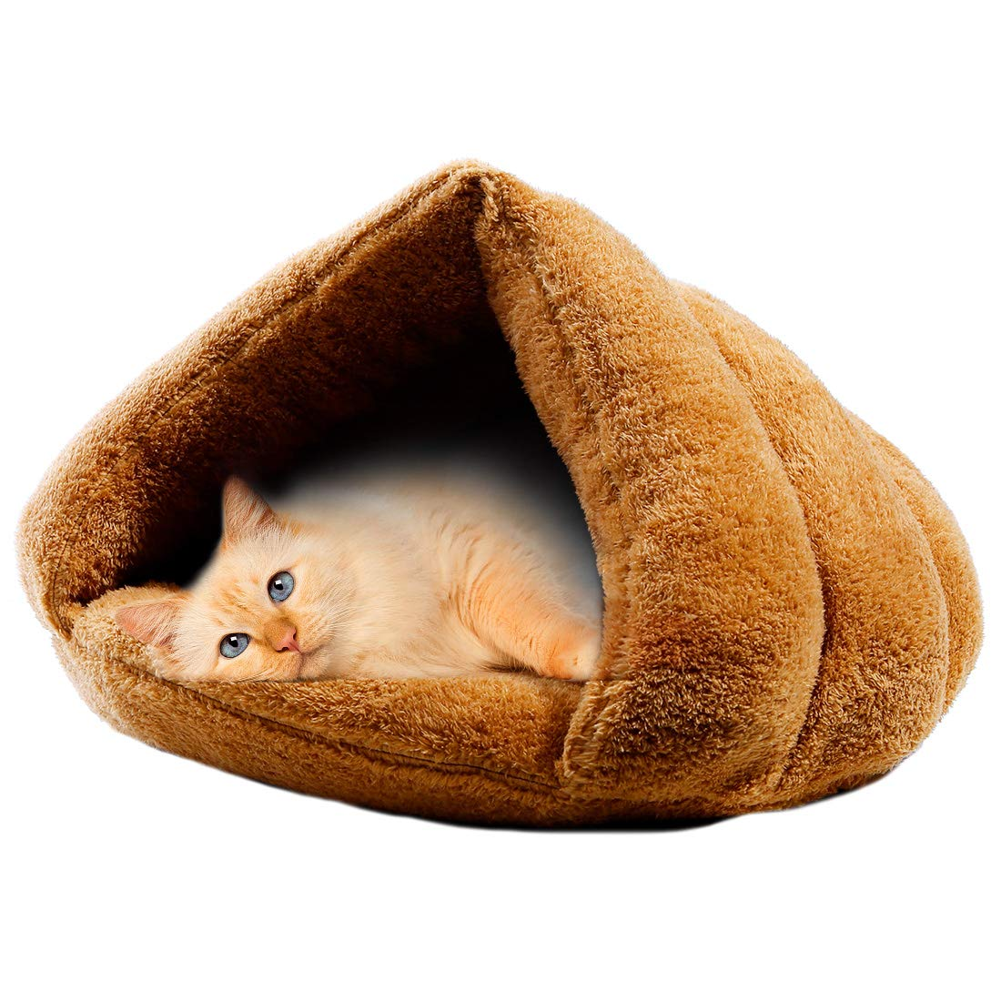 Brown MeiLiMiYu Plush Cat Sleep Bag Zone Pet Cave Bed Cozy Cuddle Pouch Pet Bed Covered Hooded Pet Cave for Cat and Puppies (Brown)