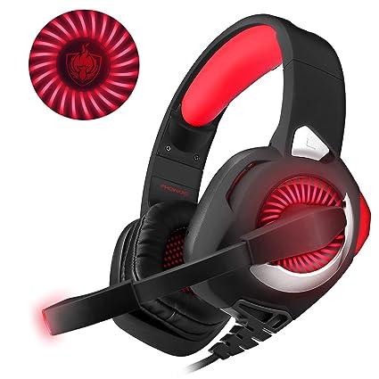 Rot V1 3,5 mm Headset Bass Ger/äusch Gaming Kopfh/örer Computer PC Gaming Headset mit Mikrofon
