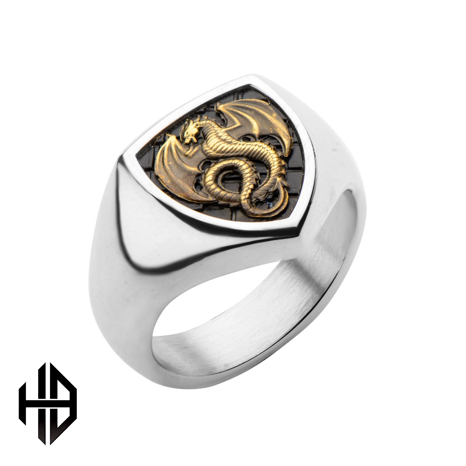 Hollis Bahringer Men's Antique Stamped Brass Dragon And Stainless Steel Polished Ring 12