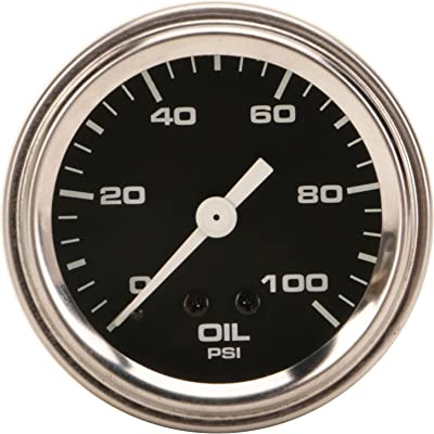 Mechanical Oil Pressure Gauge, 2-1/16 Inch, Black: Automotive
