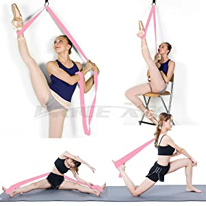 Price Xes Adjustable Leg Stretcher Lengthen Ballet Stretch Band - Easy Install on Door Flexibility Stretching Leg Strap Great Cheer Dance Gymnastics Trainer Stretching Equipment Taekwondo Training