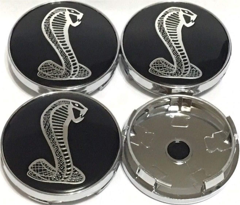 4Pcs Wheel Center Hub Caps 60MM for New Shelby Mustang Cobra GT Snake Black