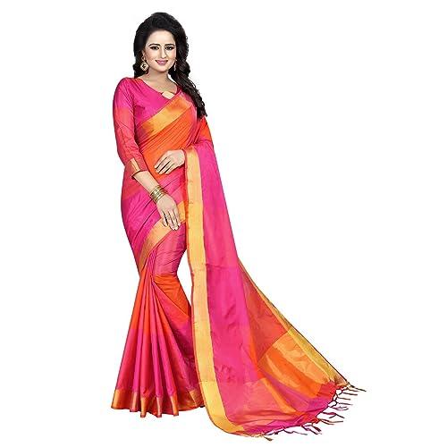 J B Fashion Womens Multi Colour Cotton Silk Saree With Blouse Material