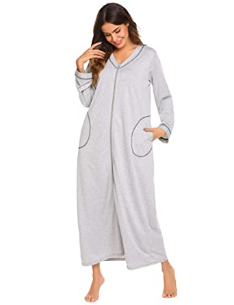 Adidome Women Casual Solid Front Zipper Long Sleeve Pockets Nightdress  Sleepwear fb2ccffe7