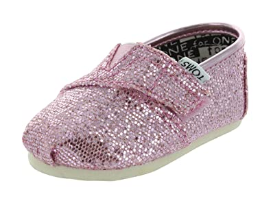 1af8e059446 Image Unavailable. Image not available for. Color: Toms Youth Classic  Glitter Shoes, Pink ...