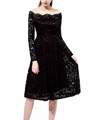 Changuan Womens Vintage Long Sleeve Retro Cocktail Prom Dresses Size S Black