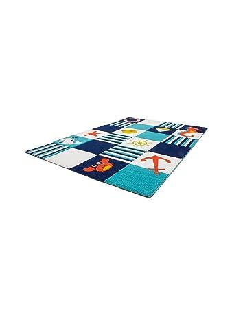 Obsession Teppiche: Kinderzimmer Kinderteppich California Kids Ocean Blau  80x150 cm - schadstofffrei - 100% Polypropylen - Tiermotive - ...