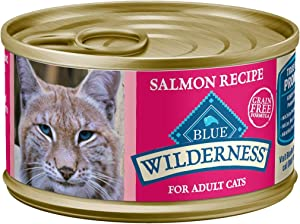 Blue Buffalo Wilderness High Protein Grain Free, Natural Adult Pate Wet Cat Food, Salmon 3-oz cans (Pack of 24)
