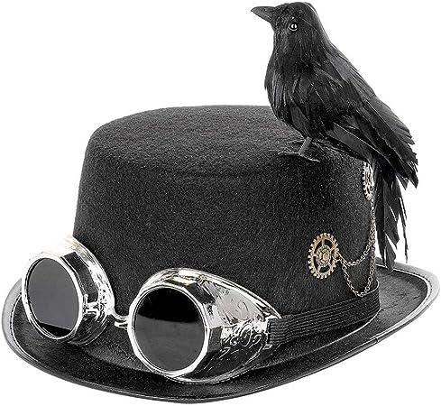 NAKELUCY Cosplay Corneille Chapeau Steampunk Haut Chapeau avec des ...
