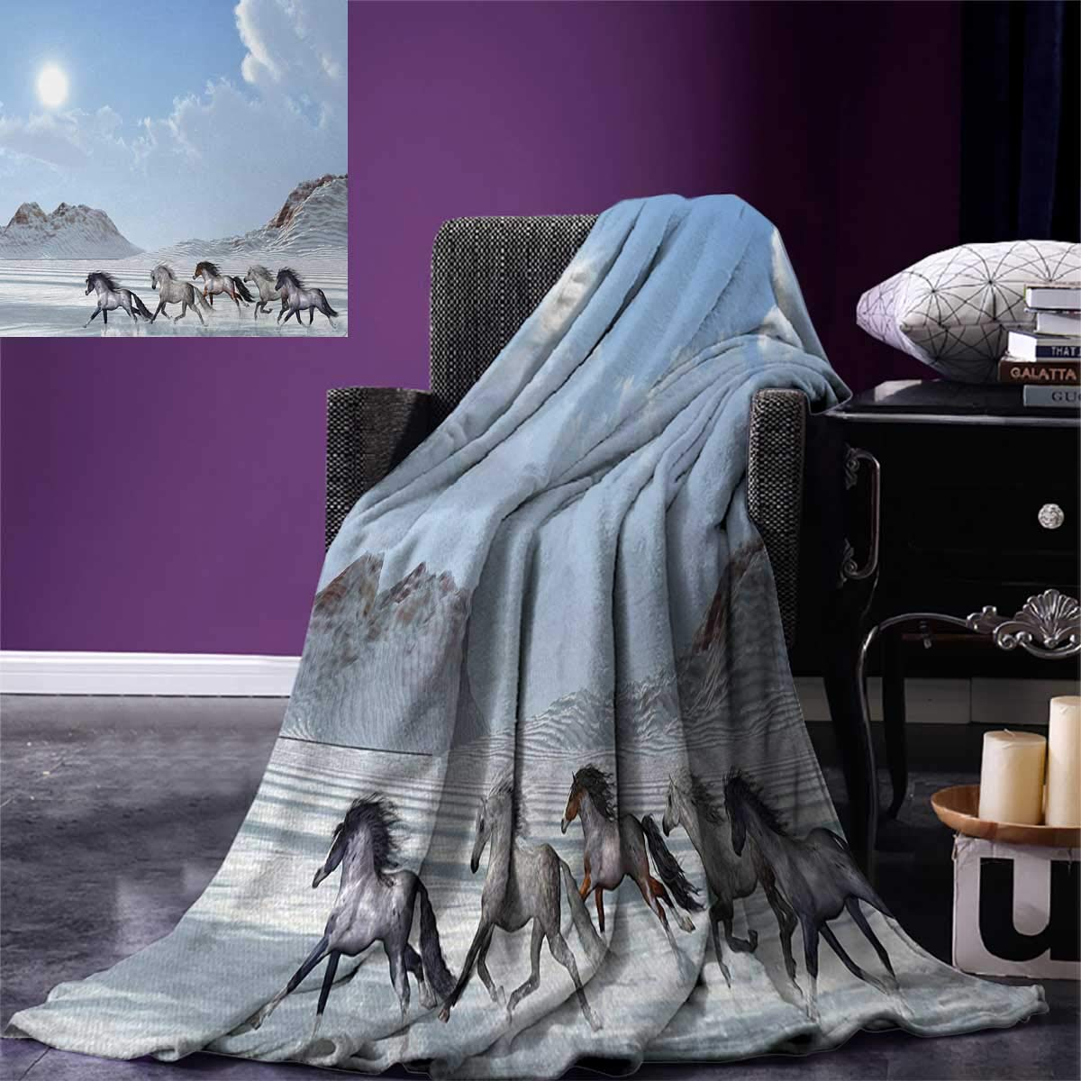 Horses Digital Printing Blanket Herd of Wild Noble Horses Run in The Snows of a Fresh Winter Day Glorious Picture Summer Quilt Comforter 80''x60'' Blue White