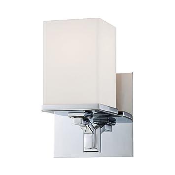 ELK Ramp 1 Light Vanity In Chrome U0026 White Opal Glass