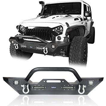 Hooke Road 2007-2018 Jeep Wrangler JK Different Trail Front Bumper w/Winch  Plate & 4X LED Accent Lights(Textured Black Finished)