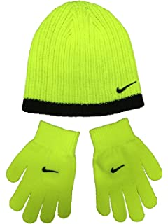 2bce6df84ca Nike Youth Beanie Hat and Glove Set Grey with Black Stripe One Size ...