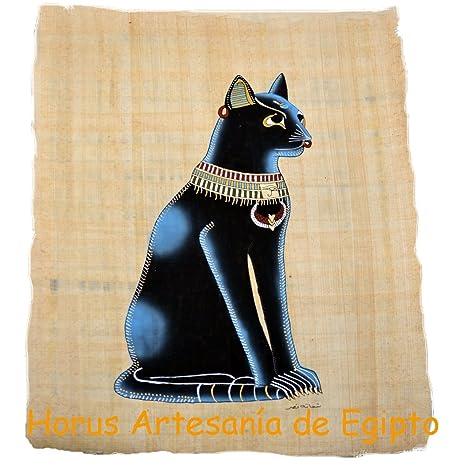 Bastet, Diosa Gato Sobre papiro Egipcio Original Hecho y Pintado a Mano en El Cairo