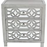 River of Goods Drawer Chest: Glam Slam 3-Drawer Mirrored Wood Cabinet Furniture - Pewter