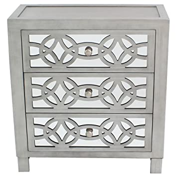 River Of Goods Drawer Chest: Glam Slam 3 Drawer Mirrored Wood Nightstand  Furniture