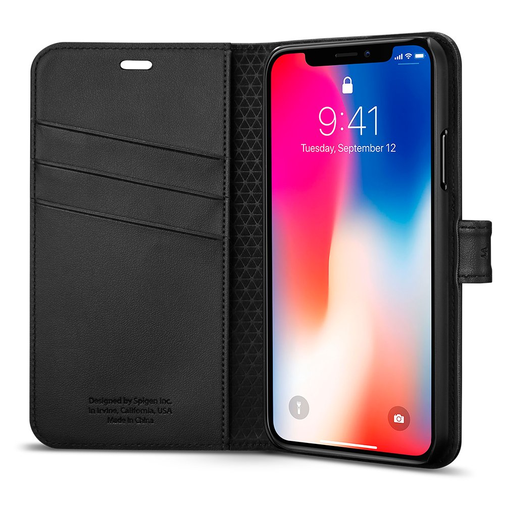 Spigen Wallet S I Phone X Case With Foldable Cover And Kickstand Feature For Apple I Phone X (2017)   Black by Spigen