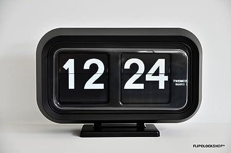 Twemco BQ58 Flipclock Klappzahlen Uhr In Black / Schwarz. Extra Large  Edition. 24 Hrs