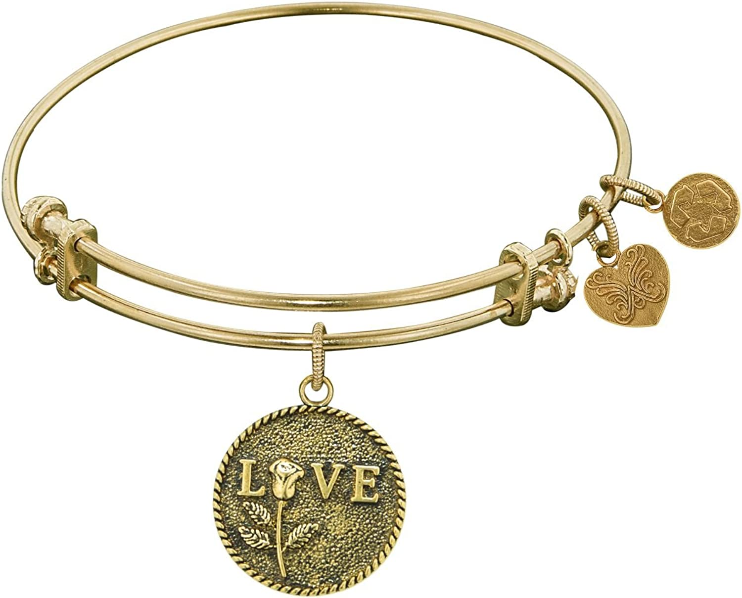 Angelica Collection Antique White Brass Love with Rose Bangle Bracelet
