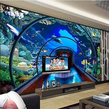 Papel Tapiz Mural 4D Personalizado,El Acuario Submarino Tv De Dibujos Animados De Fondo La Pintura