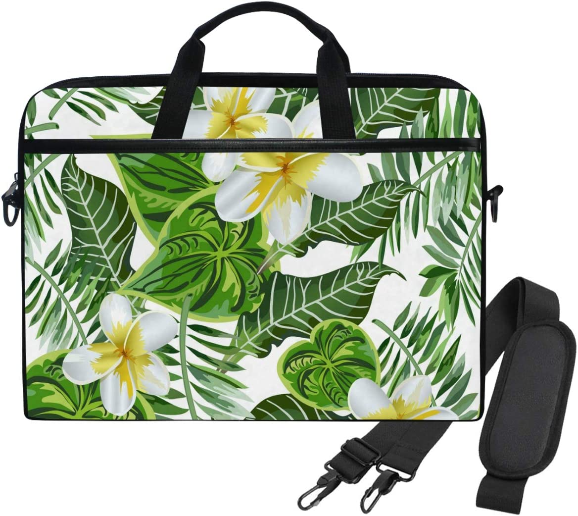 Pattern with Tropical Plants and Flamingos Laptop Case Canvas Pattern Briefcase Sleeve Laptop Shoulder Messenger Bag Case Sleeve for 13.4-14.5 inch Laptop Briefcase
