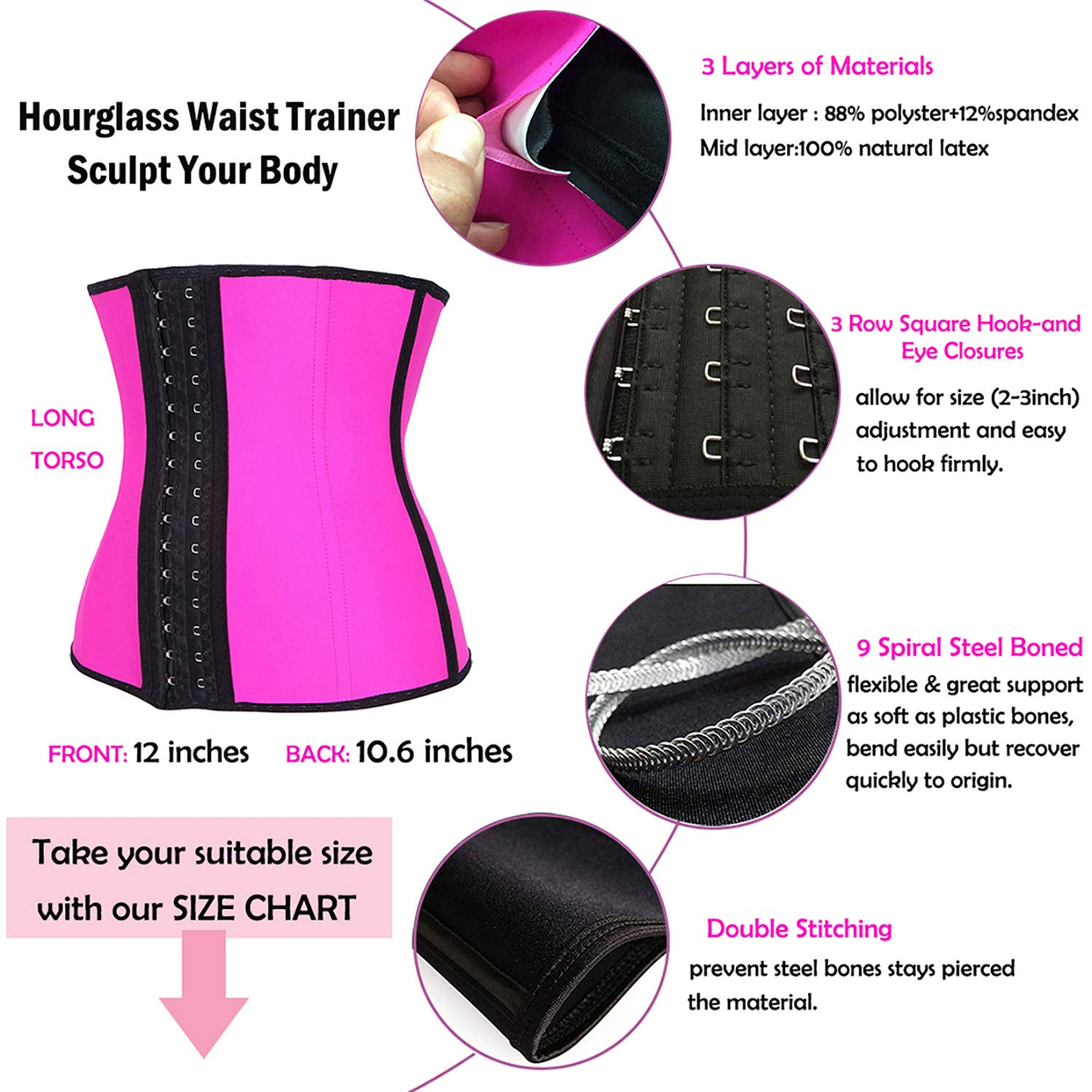 TYUIO Womens Waist Trainer for Weight Loss Sports Girdle Body Shaper Cincher