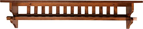 Mission Quilt Rack with Shelf 60 , Wall Mounted, Oak Wood, Pick Your Own Stain 7 D