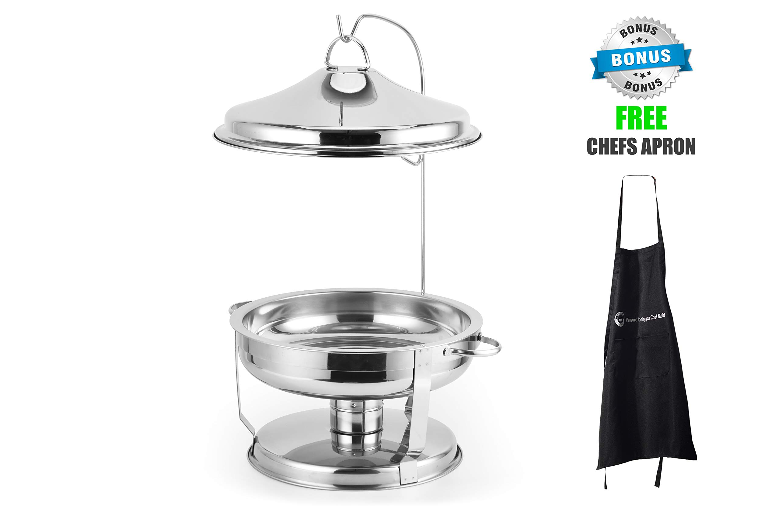 ChefMaid Stainless Steel 6 QT Round Chafer,Dome Cover Set Includes Food Pan, Water Pan and Fuel Holders - Durable, shiny silver, keeps food warm in catered events + BONUS FREE CHEFS APRON